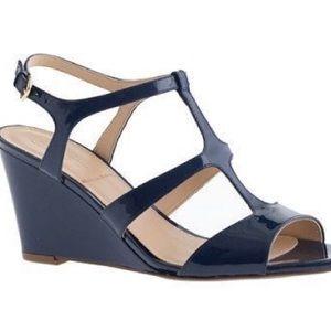 J. Crew mid-heel wedge blue 6.5